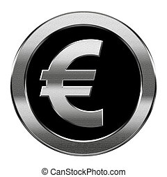 Euro icon silver, isolated on white background