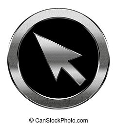 cursor icon silver, isolated on white background
