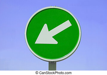 The greens going left - traffic sign at raod