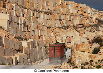 stock of marble blocks at road - stock of marble blocks with...