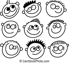 smilie faces - group of smilie faces