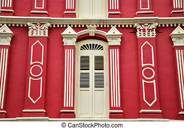 Red facade in chinatown, singapore