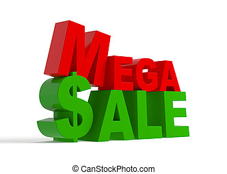Mega sale - 3d text - Mega sale - green and red 3d text,...