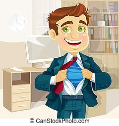 Super business man in office