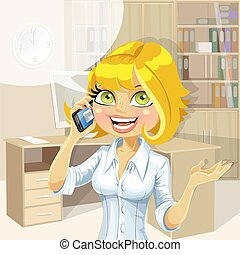 Blond in office talking on phone 1 - Cute blond in office...