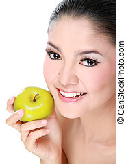 gorgeous woman with apple