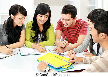 Group of students - Group of asian students studying...