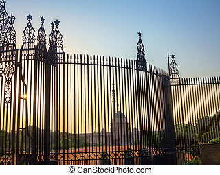 Gates at entrance to House of Parliament, Delhi, India -...