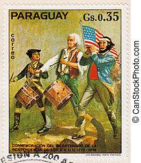 revolución, estampilla, 1976, -, Paraguay, norteamericano,...