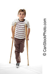injured boy on crutches - Sad melancholy boy with sore ankle...