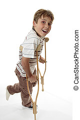Smiling boy on crutches - A boy with sprained injured ankle...