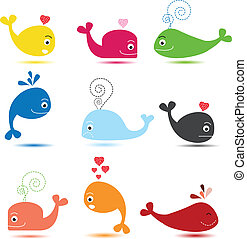 cute whale cartoon collection - vector illustration of cute...