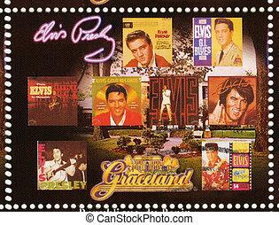 BENIN - CIRCA 2009 : stamp printed in Benin - Elvis Presley...