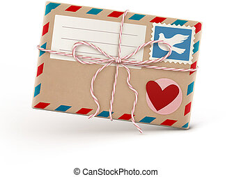 love letter - Vector illustration of funky retro airmail...