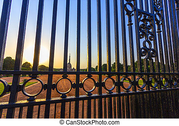 Gates at entrance to House of Parli - Gates at entrance to...