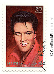 vintage stamp with famous rock and roll singer Elvis Presley