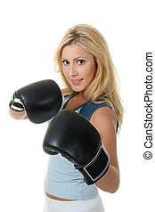 Blonde Female Boxing - Beautiful blonde woman with black...