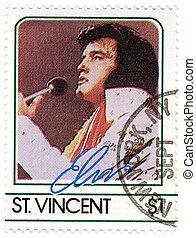 vintage stamp with famous singer Elvis Presley