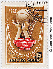 USSR - CIRCA 1986 : stamp printed in USSR show FIBA - Female...