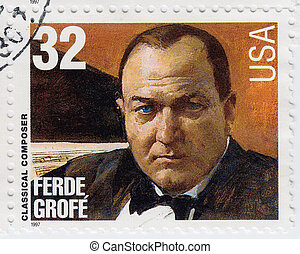 USA - CIRCA 1997 : stamp printed in USA show American classical Composer Ferde Grofe, circa 1997