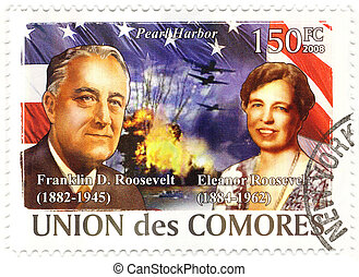 stamp with 32s president of USA Franklin D.Roosevelt and his...