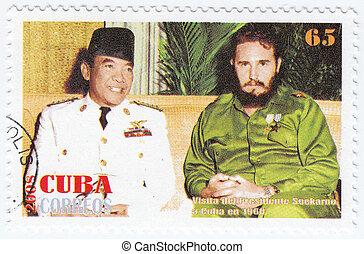 CUBA - CIRCA 2008 : Fidel Castro (R) and Sukarno 1st...