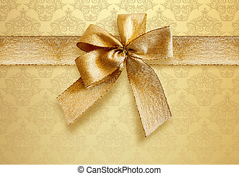 Damask Background With Gold Bow