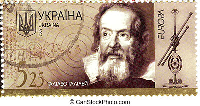 UKRAINA - CIRCA 2009: The famous italian astronomer 16-17...