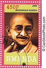2009, francobollo,  :,  -, ruanda,  Mahatma,  Gandhi,  circa