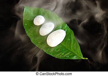 Spa composition with white stones on a leaf and aromatic...