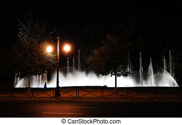 Fountains at night in Valencia, Spain
