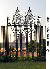 Gates at entrance to House of Parliament, Delhi, India