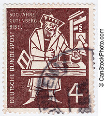 Johann Gutenberg - GERMANY - CIRCA 1970: stamp printed in...