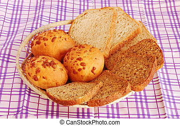 Different kinds of bread in a breadbin
