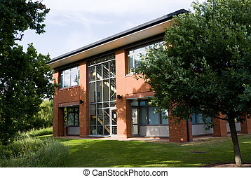 Office building facade. Horizontal. - Office building facade...