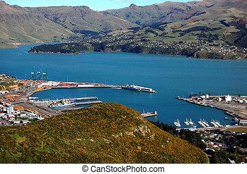 Zealand, új,  lyttelton, kikötő