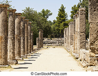 Greek Stone Pillar Colonnade - Two rows of old stone pillars...