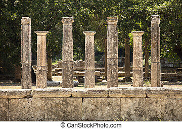 Seven Greek Pillars At Olympus - A row of seven classic...