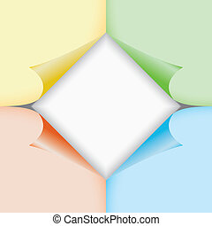 Color paper stickers with bent corners, illustration