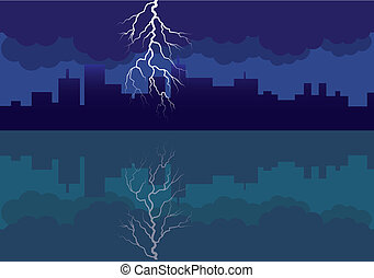 city panorama picture with comming storm and flash in the sky - illustration