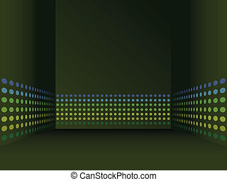 abstract dark room background with stripes from circles on the walls