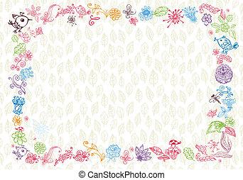 doodle foliage frame