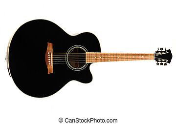 Black guitar - Black acoustic guitar isolated on white