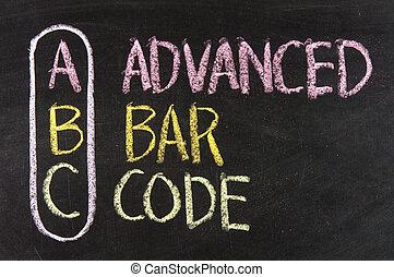 siglas, Abc, -, avanzado, barra, código