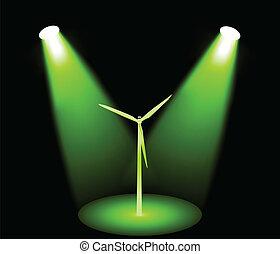 Windmill turbine in green lights