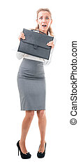 frightened business woman - young woman in office attire....