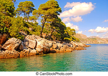 Summer seascape,Croatia - Beautiful summer landscape with...