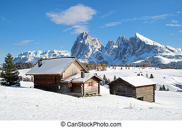 Chalets on the Alpe di Siusi - Wooden mountain chalets with...