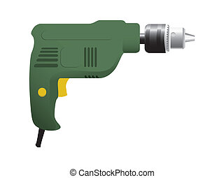 the electric drill on white background