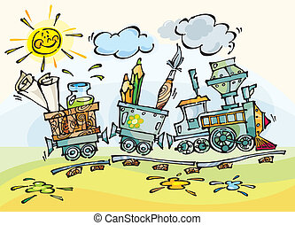 Baby train with pencils and brushes Stylization baby drawing...